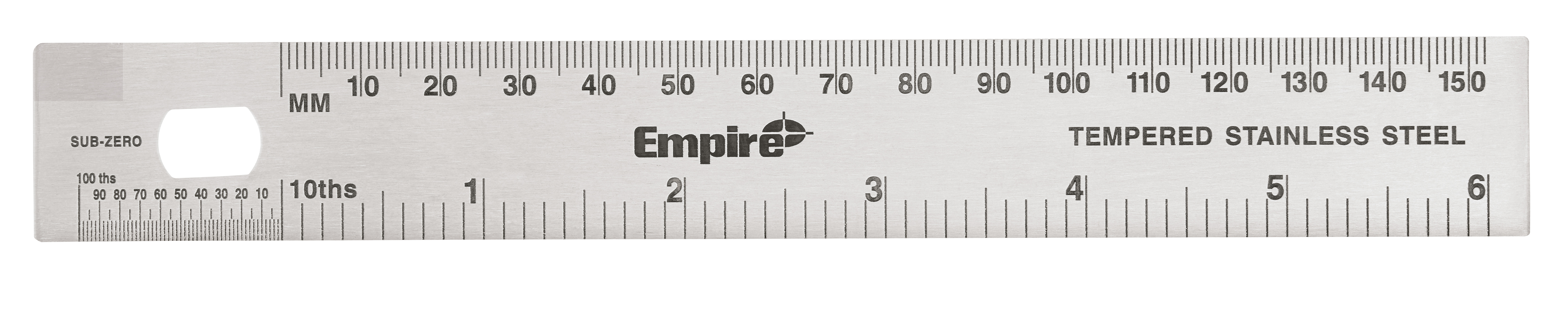 Empire® 27303 Stiff Ruler, Metric/SAE, Graduations: 1/64 in, 6-1/2 in L, Stainless Steel