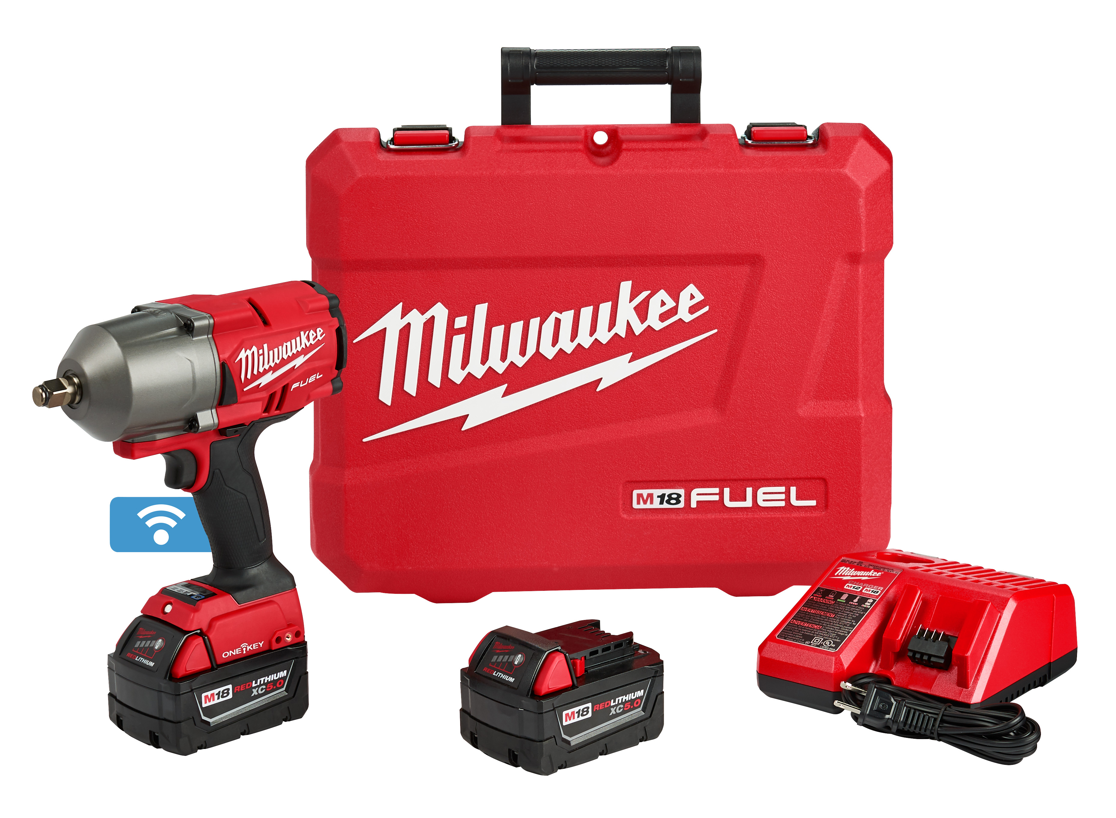 Milwaukee® M18 FUEL™ ONE-KEY™ 2863-22 Cordless High Torque Impact Wrench, 1/2 in 4-Mode Straight Drive, 2100 bpm, 1000/1400 ft-lb, 18 VDC, 8.39 in OAL