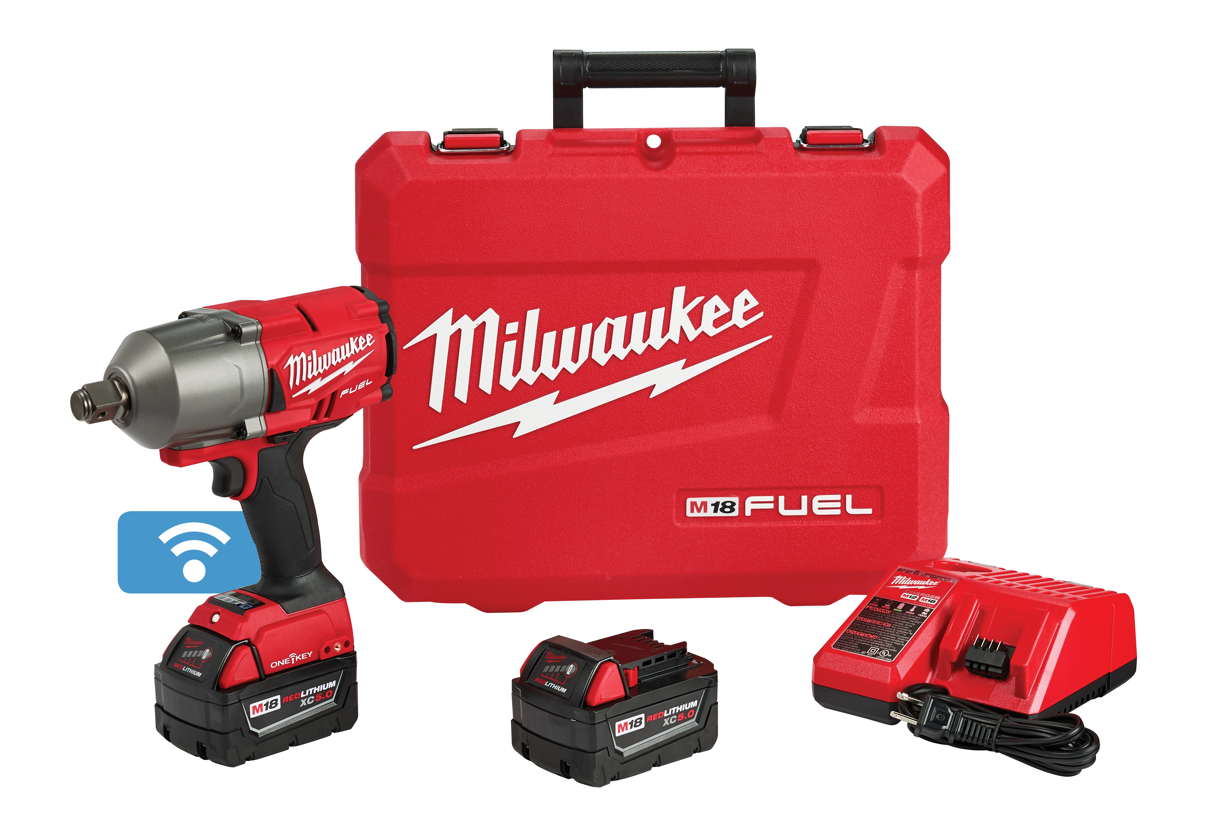 Milwaukee® M18 FUEL™ ONE-KEY™ 2864-22 Cordless High Torque Impact Wrench, 3/4 in 4-Mode Straight Drive, 2100 bpm, 1200/1500 ft-lb, 18 VDC, 8.59 in OAL