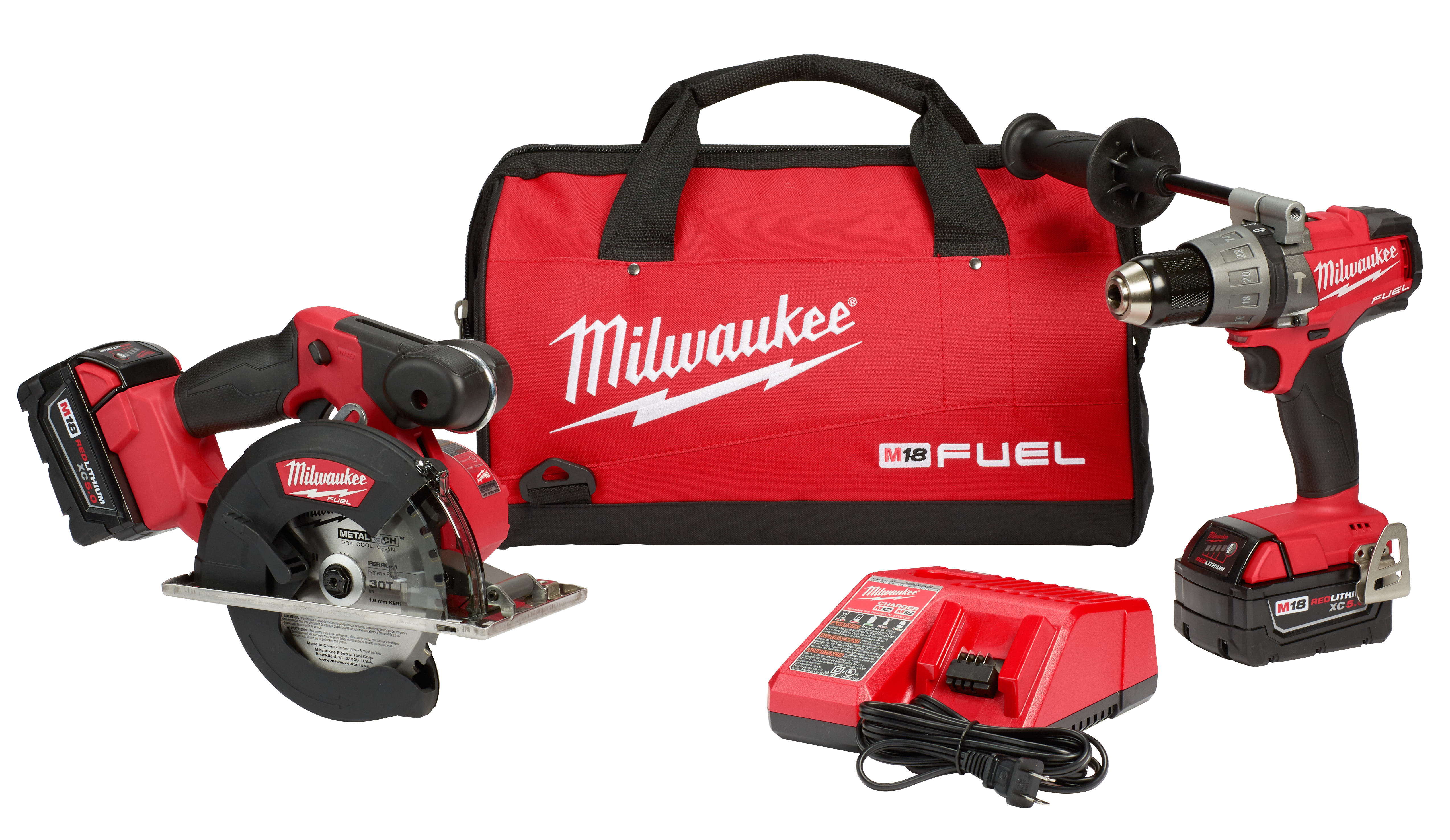 Milwaukee® 2898-22 Cordless Hammer Drill/Driver and Circular Saw Combination Kit, 1/2 in Keyless Chuck, 18 VDC