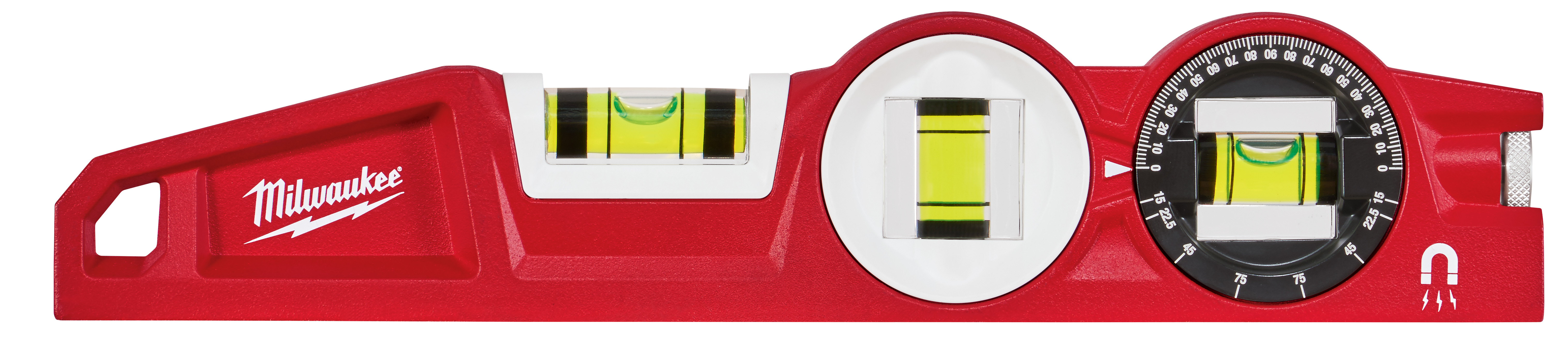 Milwaukee® 48-22-5210 Torpedo Level With 360 deg Locking Vial, 10 in L, 3 Vials, Plastic, 0.0005 in/in