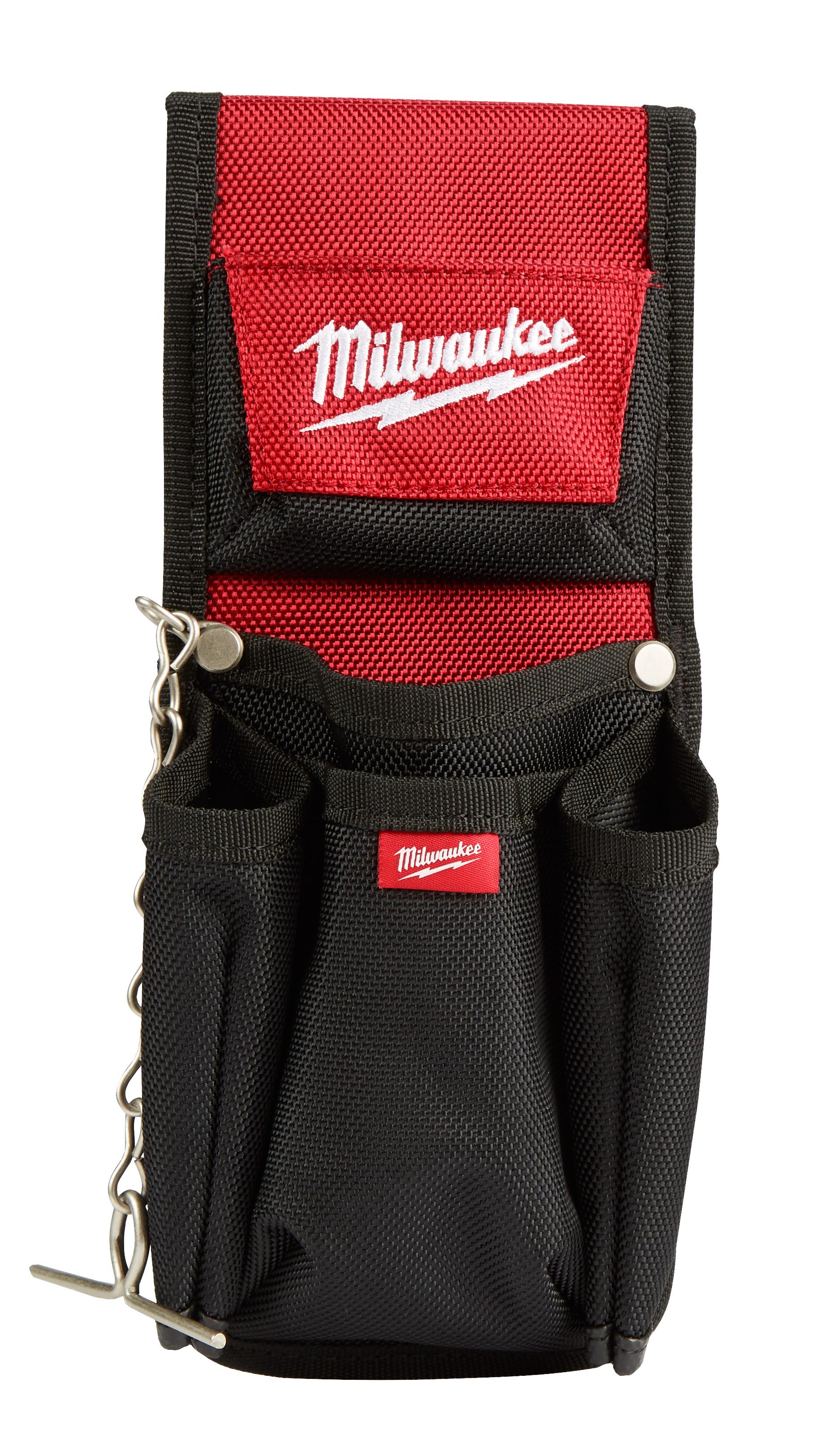 Milwaukee® 48-22-8118 7-Pocket Compact Utility Pouch, 1680D Ballistic Nylon, Black/Red