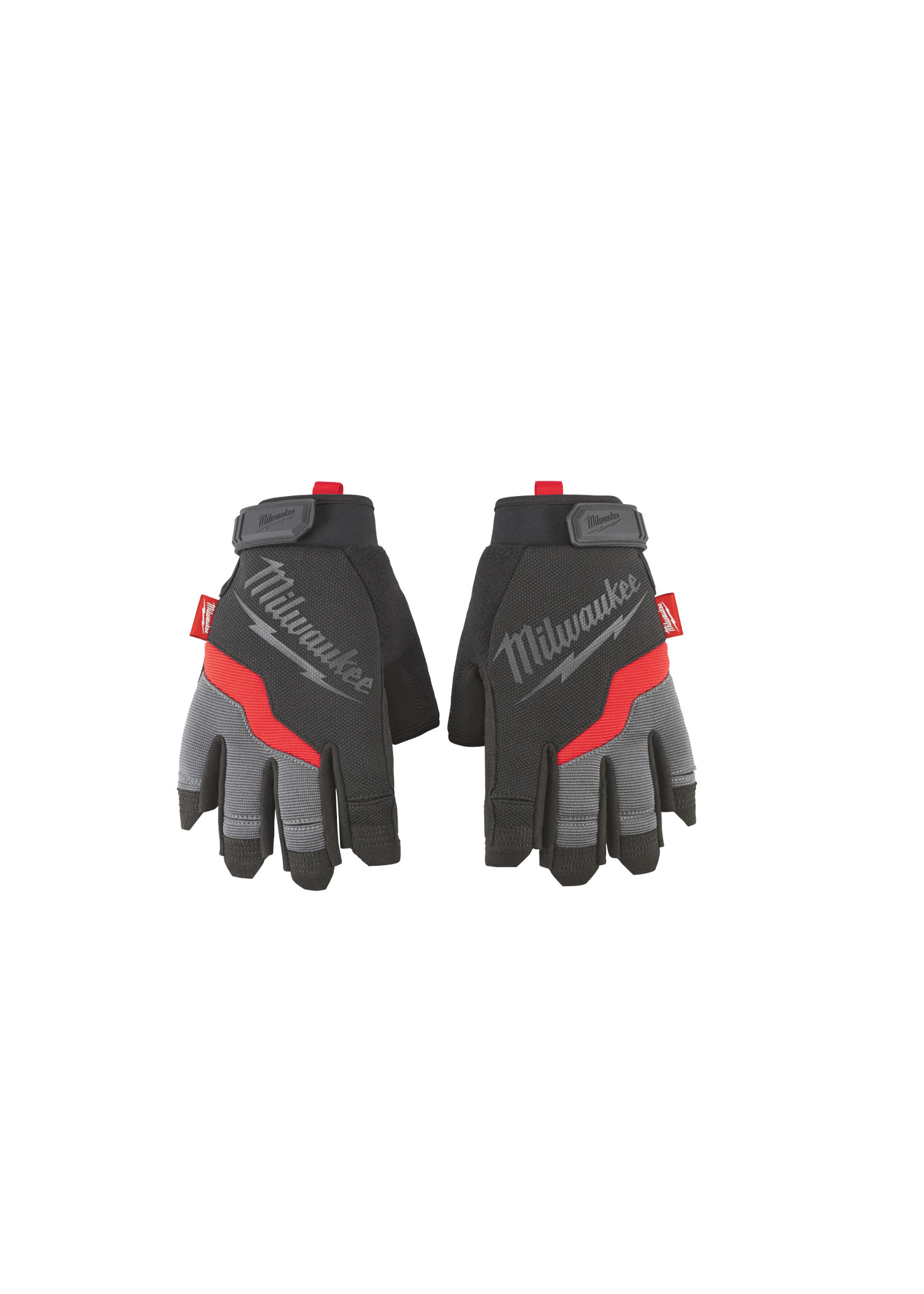 Milwaukee® 48-22-8741 Demolition Fingerless General Purpose Work Gloves, M, Black/Red, High Dexterity Finger Tip, Synthetic Leather
