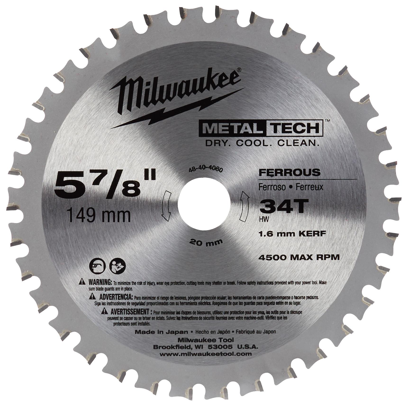 Milwaukee® 48-40-4080 Larger Capacity Circular Saw Blade, 5-7/8 in Dia, 20 mm Arbor, Carbide Blade, 30 Teeth