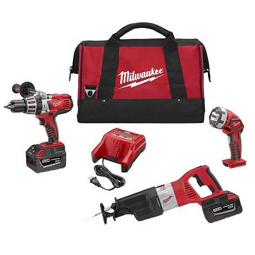 Milwaukee® M28™ 0928-23 Cordless Combination Kit, Tools: Hammer Drill, Reciprocating Saw, 28 VDC, 3 Ah Lithium-Ion, 12-3/4 in L, Keyless Blade