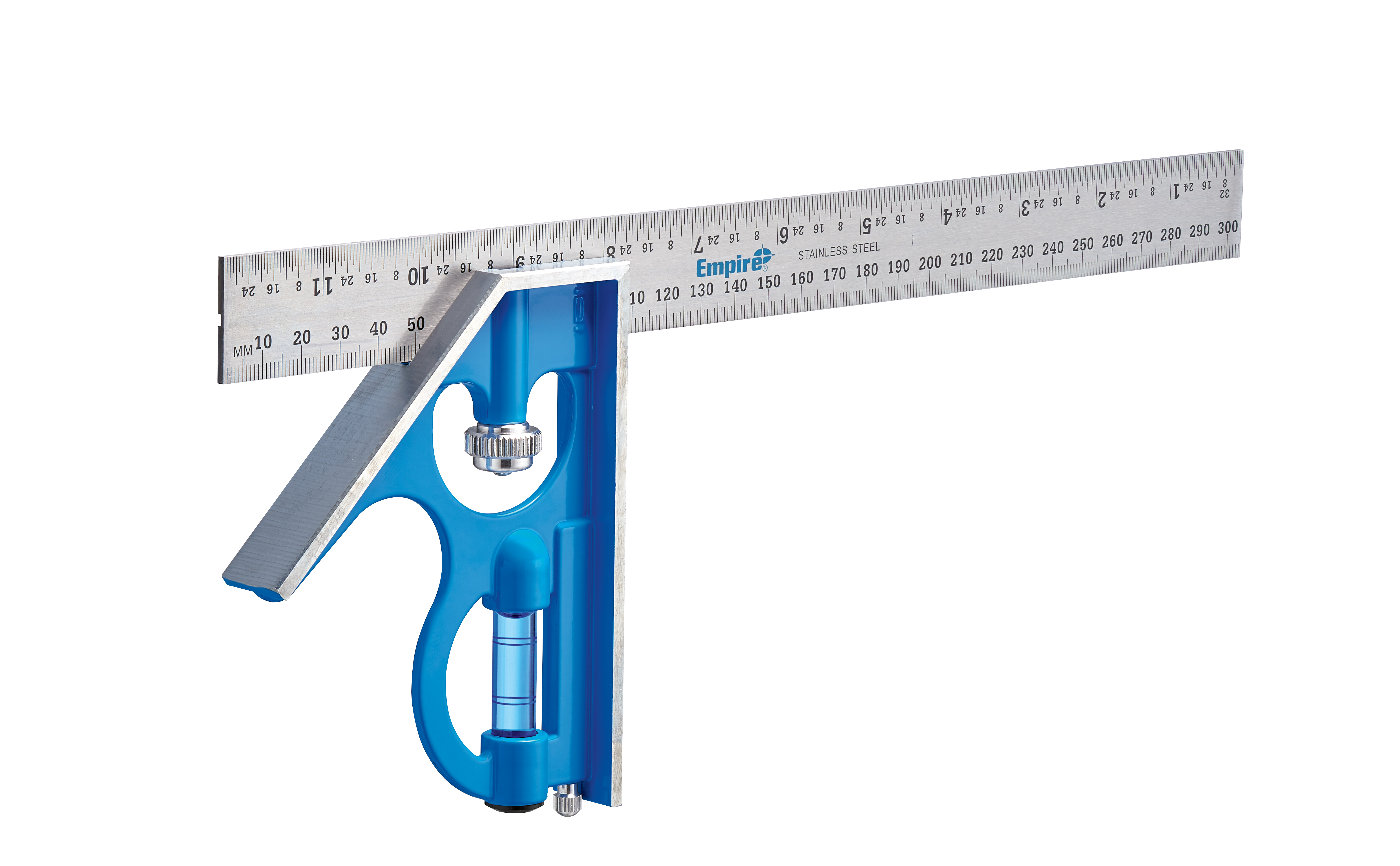 Empire® TRUE BLUE® E250IM Professional Combination Square, 12 in/30 cm L x 5-1/4 in W, Stainless Steel Blade