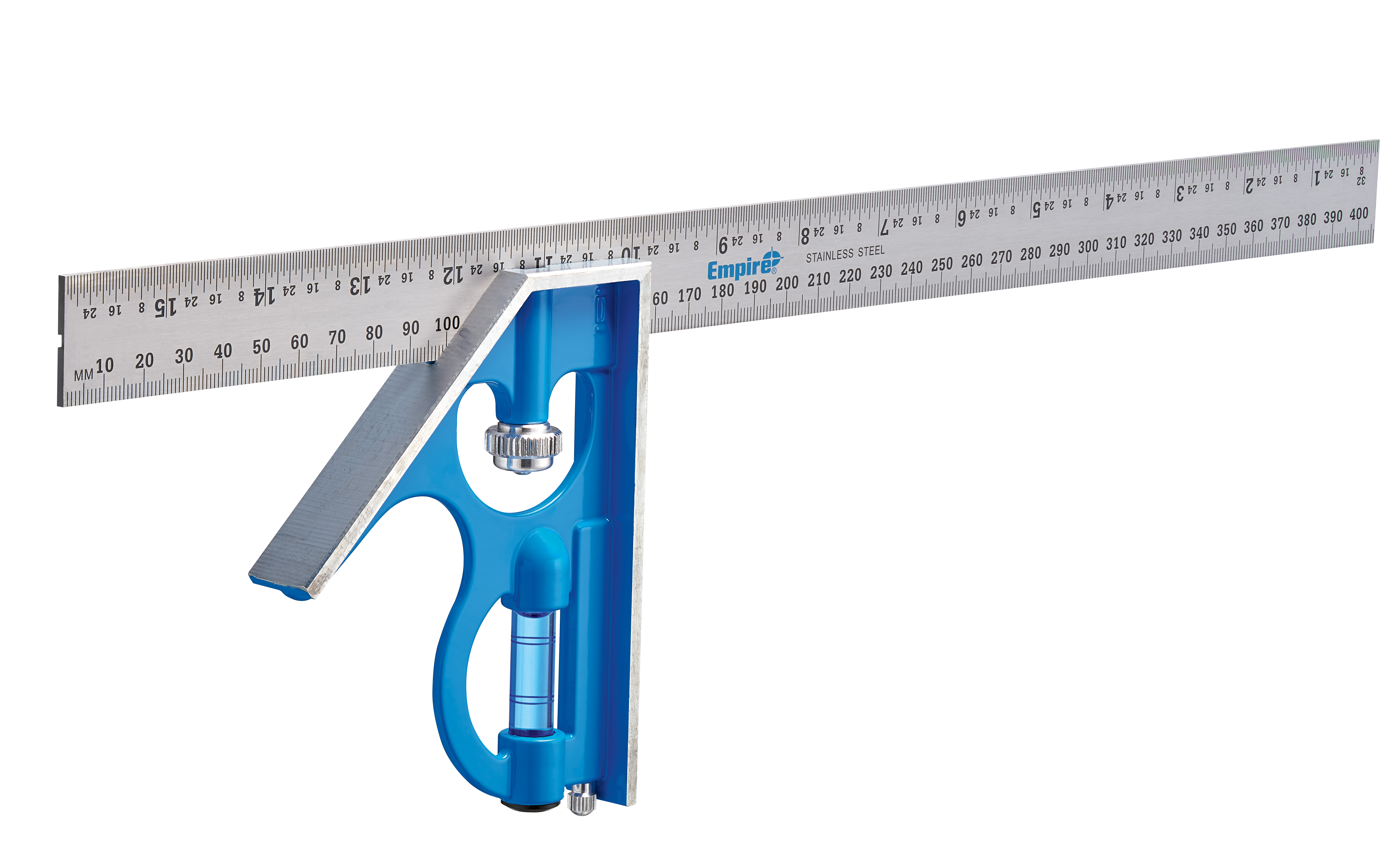 Empire® TRUE BLUE® E280IM Heavy Duty Professional Combination Square, 16 in/40 cm L x 5.31 in W, Stainless Steel Blade