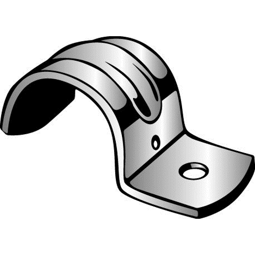 Minerallac® Traditional MED55 1-Hole Medium Jiffy Clip, For Use With 1 in EMT Conduit, Steel, Zinc Plated