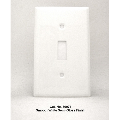 Mulberry 86071 1-Gang White Semi Gloss Painted Steel 1-Toggle Switch Wallplate