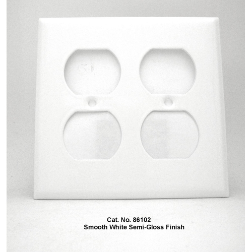 Mulberry 86102 2-Gang White Semi Gloss Painted Steel Duplex Receptacle Wallplate