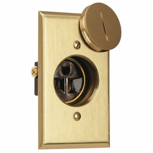 Pass & Seymour 1542-TR-DR Tamper-Resistant Display Receptacle, 15Amp 125Volt With Brass Plate And Plug. Brown.