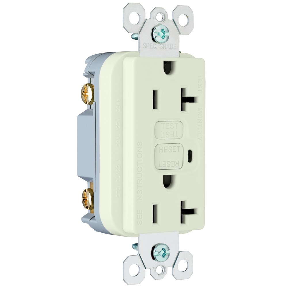 PS 2095-LA Spec Grade GFCIReceptacle, 10Ka SCCR, 20A/125Vac,Light Almond