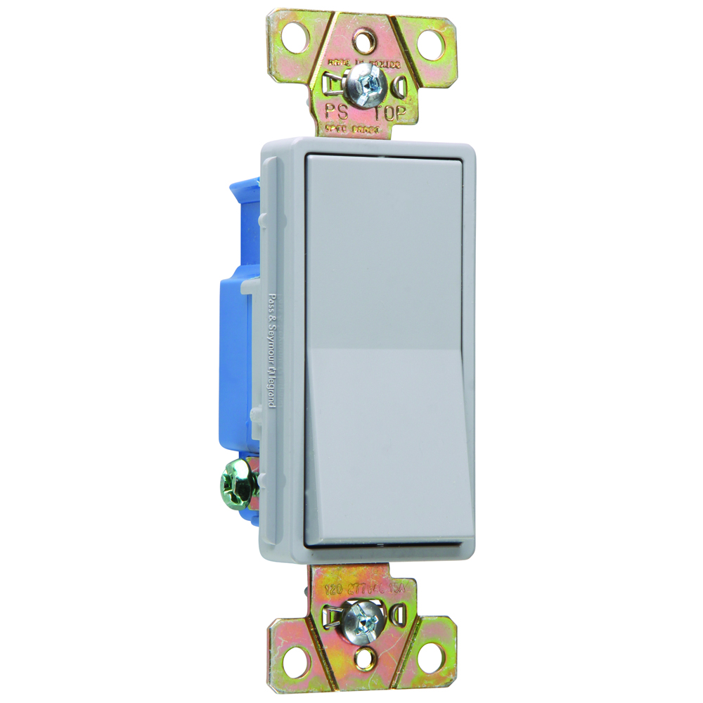 Pass & Seymour 2601-GRY Single Pole, Back and Side Wire, Decorator Switch, 15 amps, 120/277V - Gray.