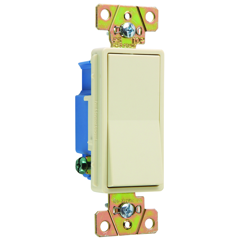 Pass & Seymour 2601-I Single Pole, Back and Side Wire, Decorator Switch, 15 amps, 120/277V - Ivory
