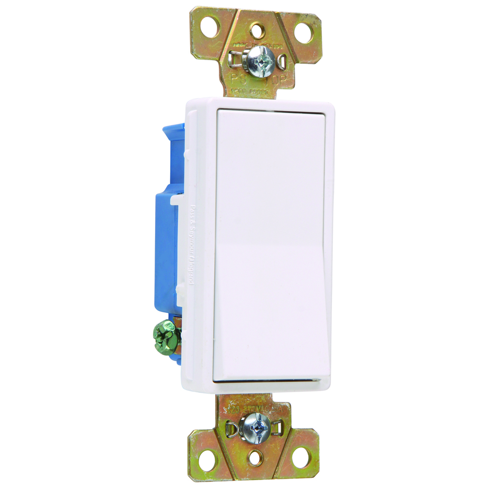 Pass & Seymour 2601-W Single Pole, Back And Side Wire, Decorator Switch, 15 Amps, 120/277 Volts, White.