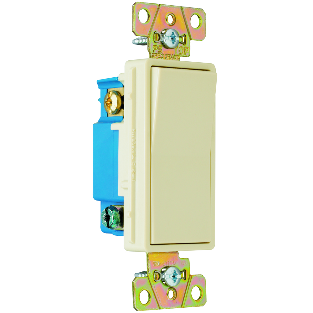 Pass & Seymour 2603-I Three-way, Back and Side Wire, Decorator Switch, 15 amps, 120/277V - Ivory