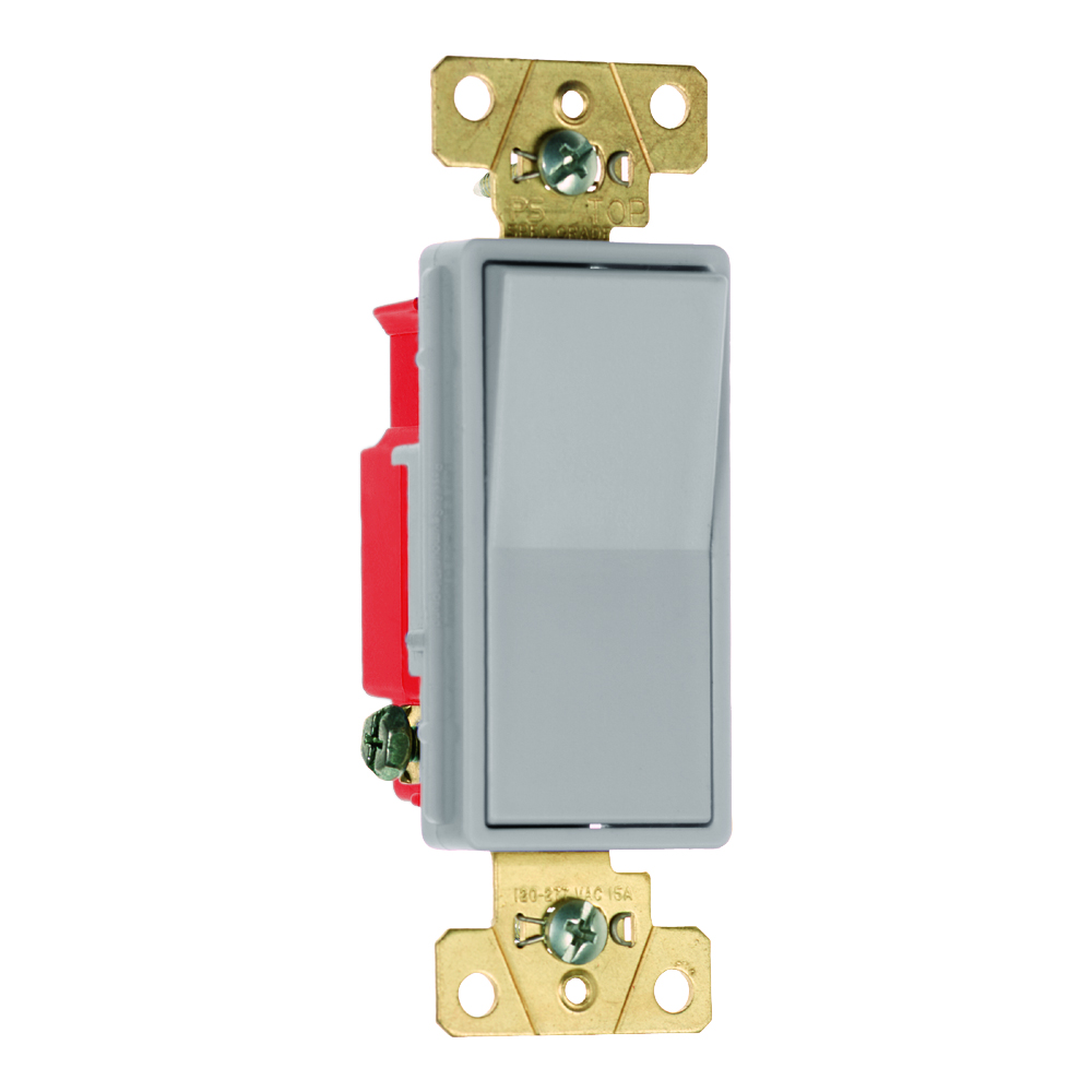 Pass & Seymour 2621-GRY 20 Amp 120/277 VAC 1-Pole Gray Polycarbonate Screw Mounting Rocker Decorator Switch