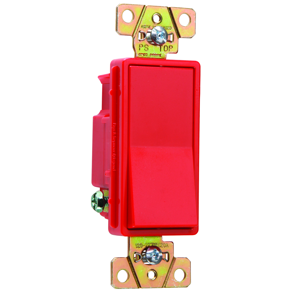 Pass & Seymour 2621-RED 20 Amp 120/277 VAC 1-Pole Red Polycarbonate Screw Mounting Rocker Decorator Switch