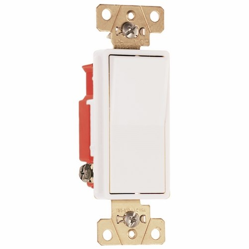 Pass & Seymour 2621-W Single Pole, Back And Side Wire, Decorator Switch, 20 Amps, 120/277 Volts, White.
