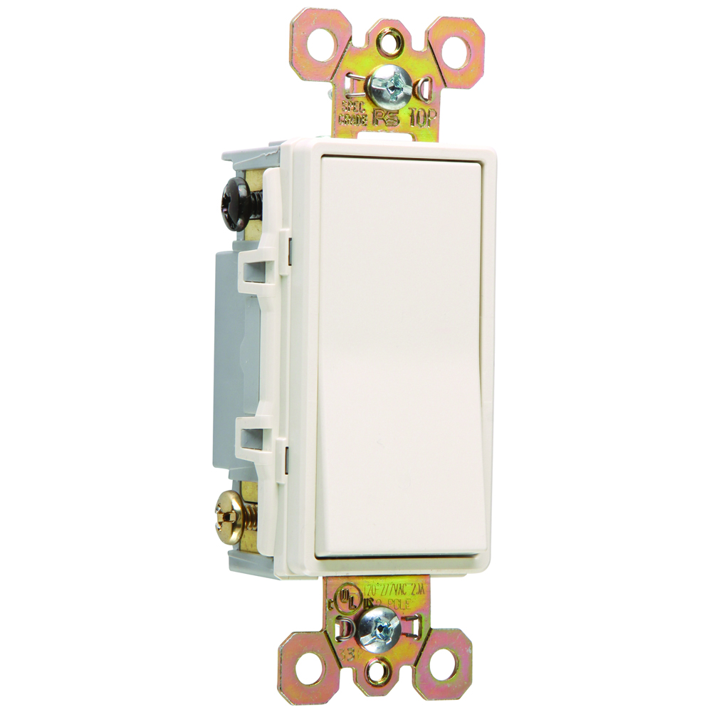 Pass & Seymour 2622-LA Double Pole, Back and Side Wire, Decorator Switch, 20 amps, 120/277V - Light Almond