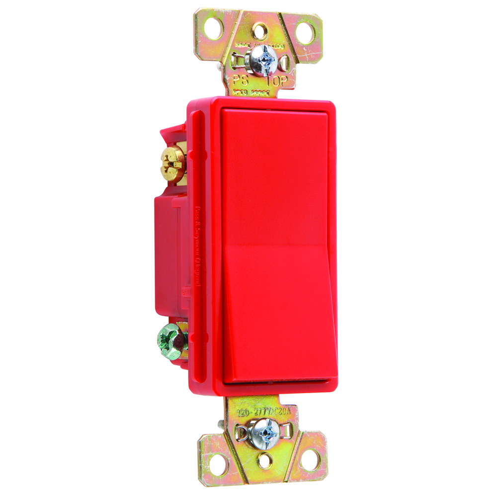 Pass & Seymour 2623-RED Three-way, Back and Side Wire, Decorator Switch, 20 amps, 120/277V -Red.