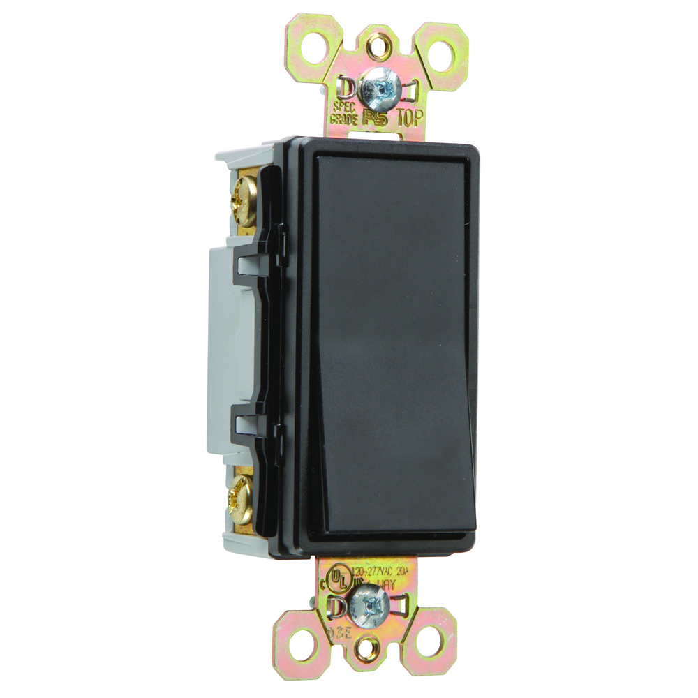Pass & Seymour 2624-BK Four-way, Back and Side Wire, Decorator Switch, 20 amps, 120/277V -Black