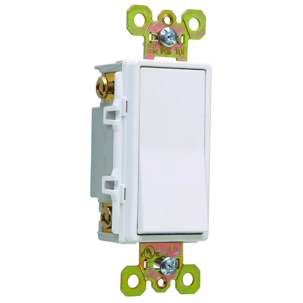 Pass & Seymour 2624-W Four-Way, Back And Side Wire, Decorator Switch, 20 Amps, 120/277 Volts, White.