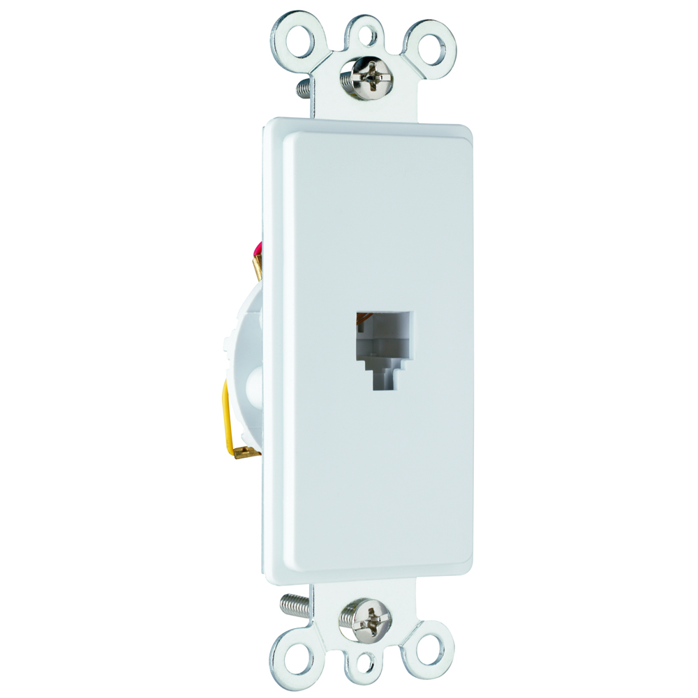 Pass & Seymour 26TE14-W Single Gang, Single Opening Four Conductor Modular Jack, White.