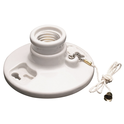 Pass & Seymour 282 Medium Base, Porcelain, Pullchain, 2 Terminals w/ Tri-Drive Screws. Fits 3-1/4 To 4 Boxes,With Cage Neck, White