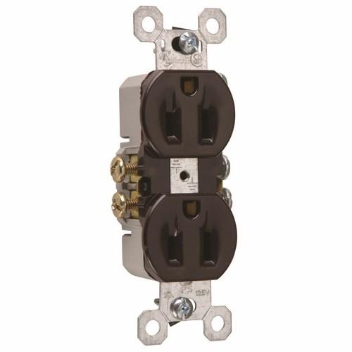 Pass & Seymour 3232 15 Amp 125 VAC 2-Pole 3-Wire NEMA 5-15R Brown Thermoplastic Duplex Receptacle
