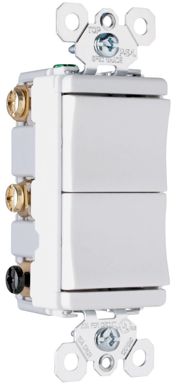 Pass & Seymour,TM833-BKCC,Pass & Seymour® TradeMaster® TM833-BKCC Two/Three-Way Decorator Combination Switch, 120 VAC, 15 A