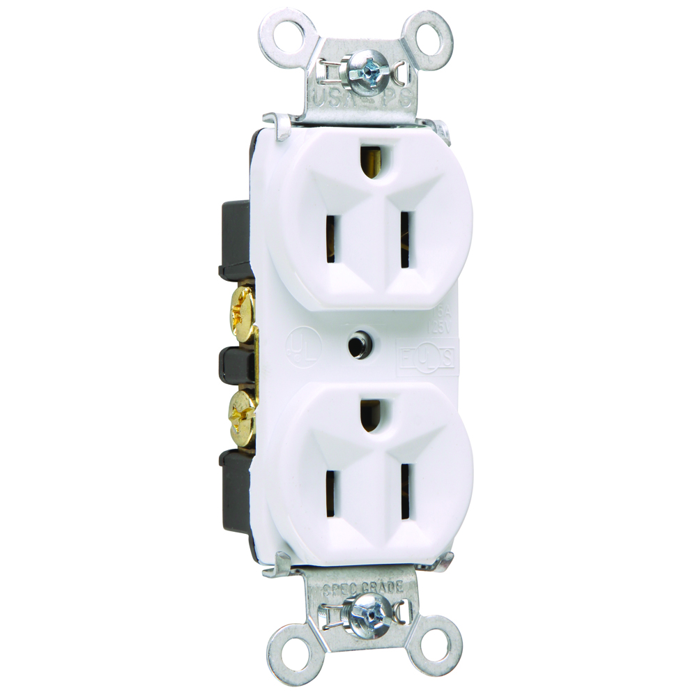 Pass & Seymour 5262-W 15 Amp 125 VAC 2-Pole 3-Wire NEMA 5-15R White Nylon Face Duplex Receptacle