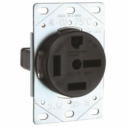 Pass & Seymour 5760 60 Amp 250 VAC 3-Phase 3-Pole 4-Wire NEMA 15-60R Straight Blade Power Receptacle