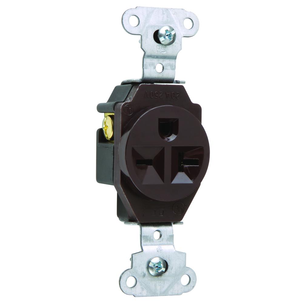 Pass & Seymour 5851 Heavy-Duty Spec Grade Single Receptacle, Side Wire 20Amp 250Volt, Brown
