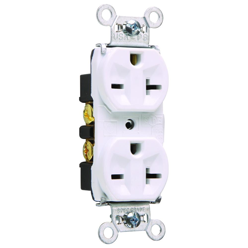Pass & Seymour 5862-W 20 Amp 250 VAC 2-Pole 3-Wire NEMA 6-20R White Nylon Face PVC Back Body Duplex Receptacle