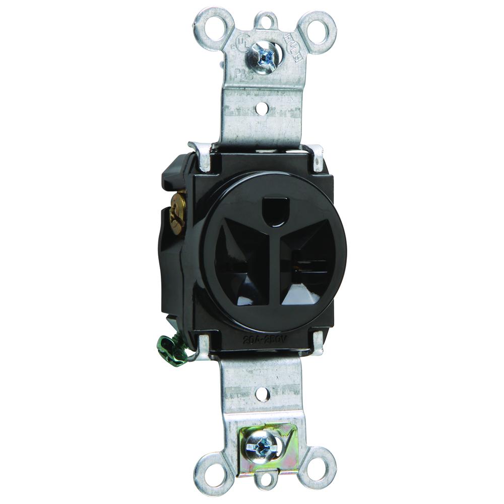 Pass & Seymour 5871-BK Single Receptacle, HD Spec Grade, 20A 250V, Back & Side Wired - Black