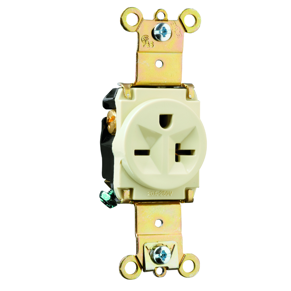 P&S 5871-I : SINGLE RECEPTACLE 20A 250V SIDE & BACK WIRE IVORY