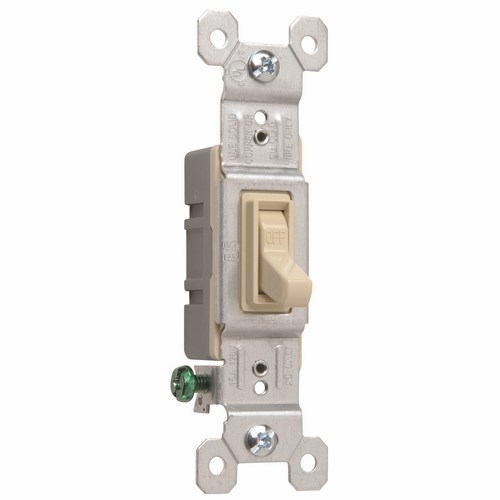 Pass & Seymour 660-IG Single Pole Switch, Grounded Terminals, 15 Amps, 120 Volts, Ivory