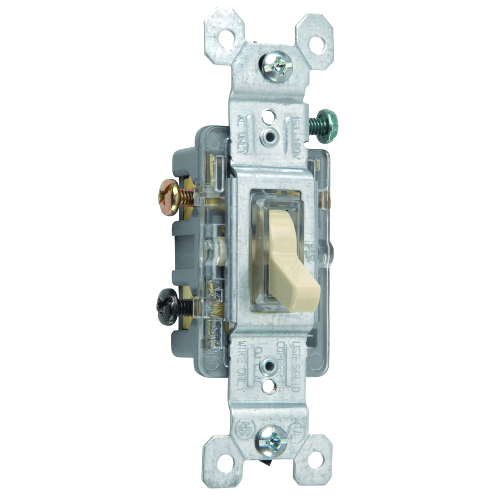 Pass & Seymour 663-ISLG Three-way Lighted Toggle Switch, 15A 120V - Ivory