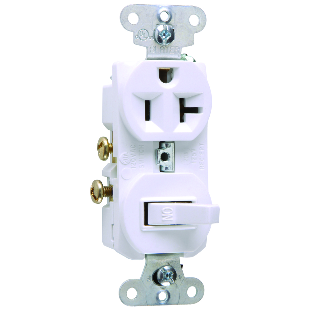 Pass & Seymour 671-W Single Pole, Single Receptacle, Combination Switch, 20 amps, 120V - White