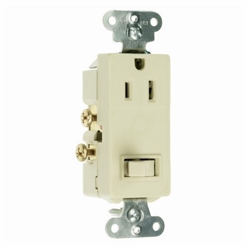 Pass & Seymour 681-I 15A 120/125V Decorator Combination 1-Pole Switch/Single Receptacle, NEMA 5-15R - Ivory