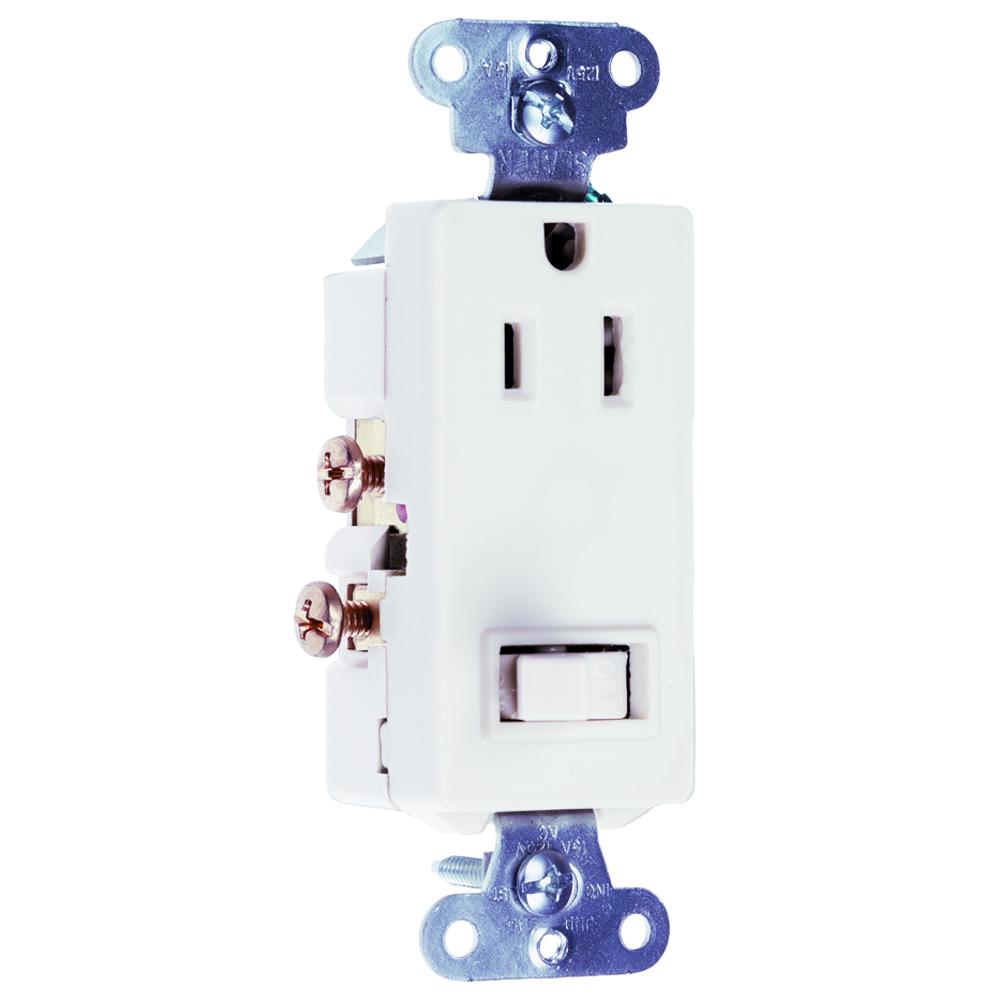 Pass & Seymour 681-W Single Pole, Single Recepticle, Combination Sierraplex Switch, 15 Amps, 120/125 Volts, White