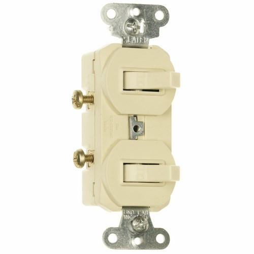 Pass & Seymour 690-IG Single Pole, Double Combination Switch, 15 Amps, 120/277 Volts, With Ground, Ivory