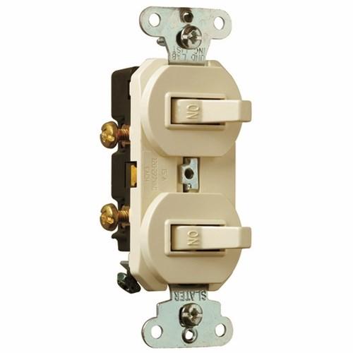 Pass & Seymour 690-LAG 15 Amp 120/277 VAC 1-Pole Light Almond Grounding Duplex Combination Switch