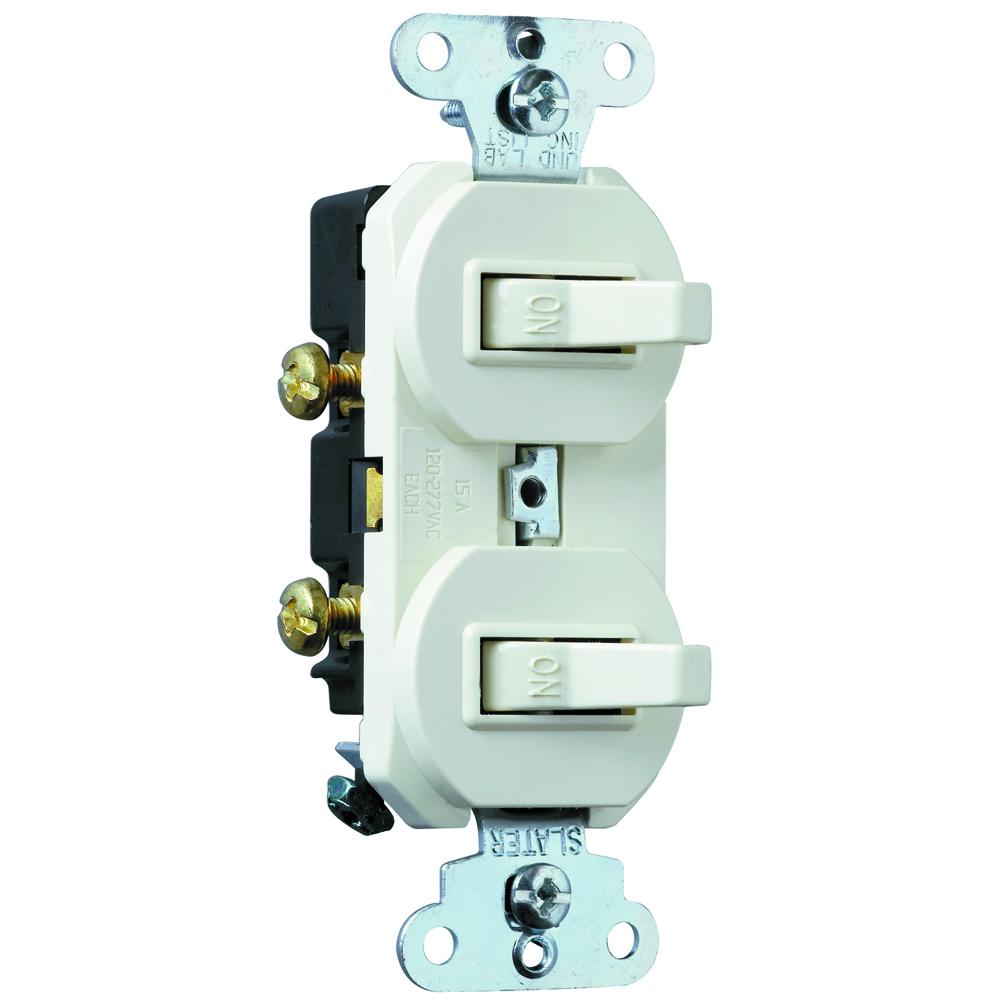 Pass & Seymour 690-W 15 Amp 120/277 VAC 1-Pole White Non-Grounding Duplex Combination Switch