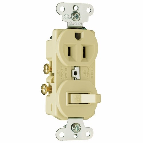 Pass & Seymour 691-I 15 Amp 120/125 VAC NEMA 5-15R Ivory Combination 1-Pole Switch/Single Receptacle
