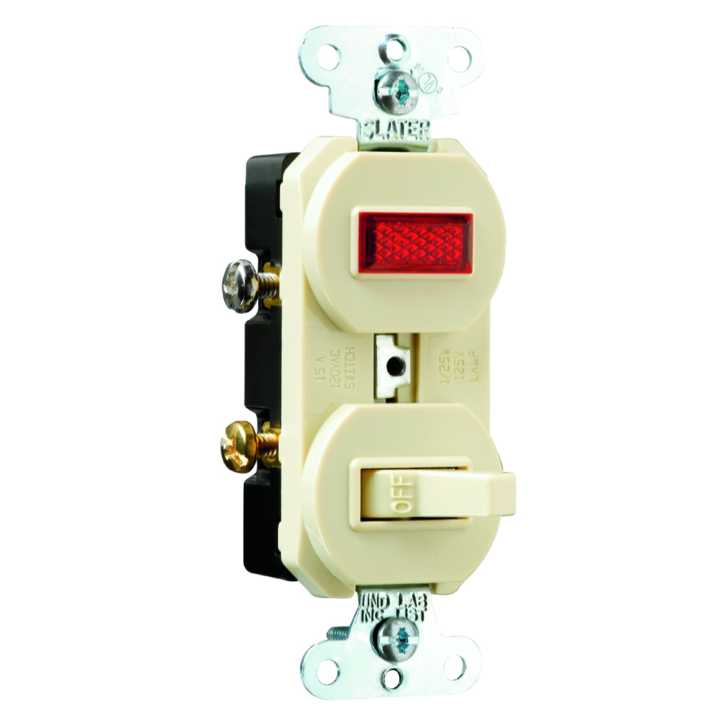 Pass & Seymour 692-I 15 amps, 120V -Pole, Single Pilot Light, Combination Switch, Non-Grounding - Ivory