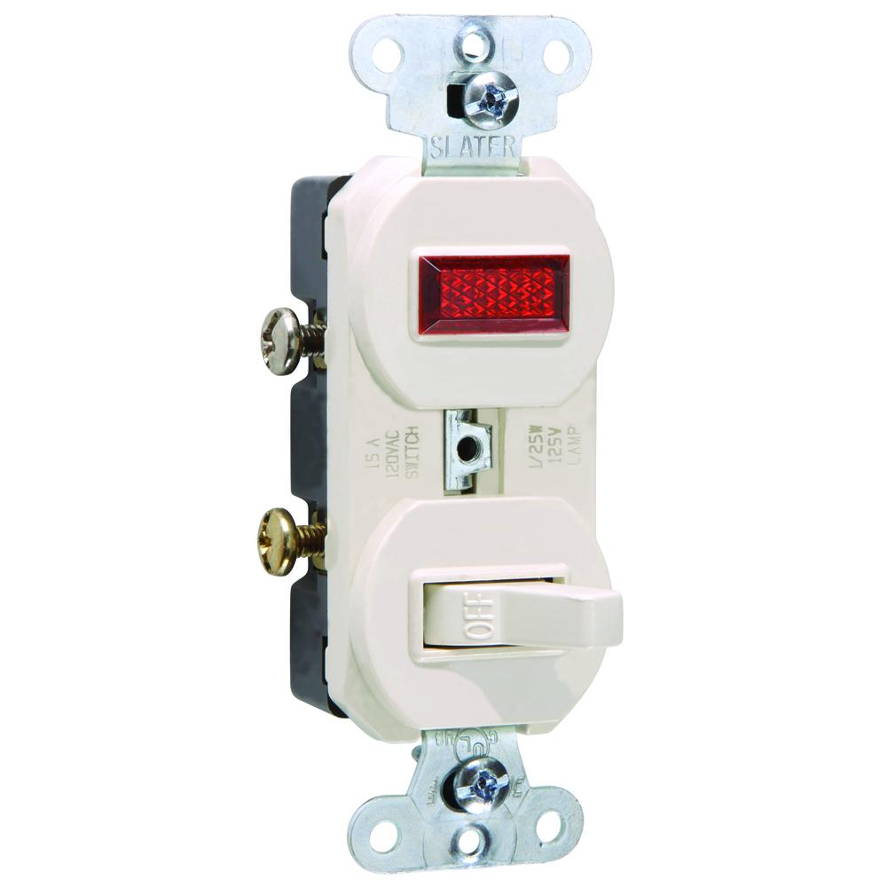 Pass & Seymour 692-LA 120/125 Volt 15 Amp 1-Pole Light Almond Non-Grounding Combination Switch and Pilot Light