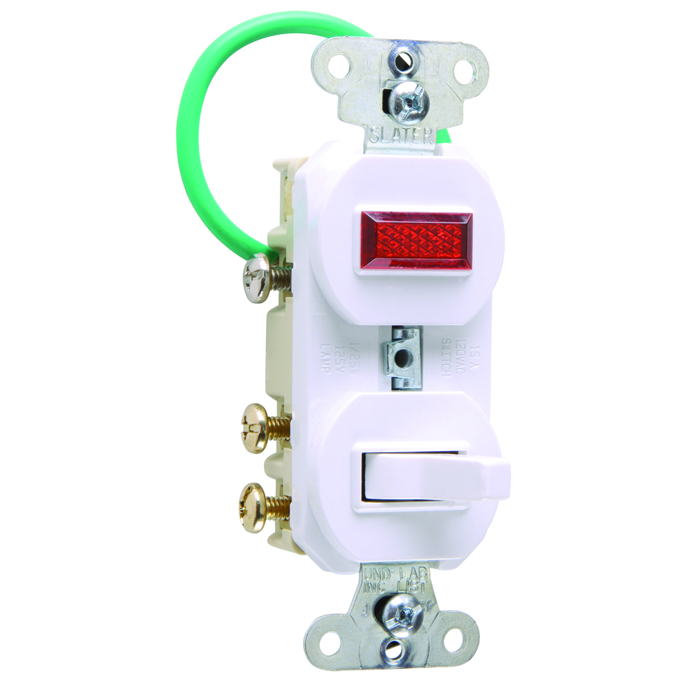 Pass & Seymour 695-WG 15 amps, 120/125V -Three-way, Single Pilot Light, Combination Switch, Grounding - White