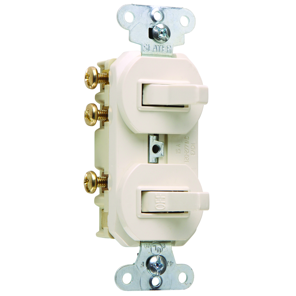Pass & Seymour 696-LA 15 amps, 120/277V -Single Pole, Three-way Combination Switch, Non-Grounding - Light Almond